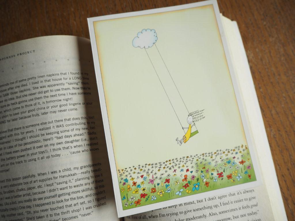 nešetřím věci na později, minimalismus, Marcela Sobotová, šetření, nešetření, tady a teď, Gretchen Rubin, Projekt štěstí, kniha, záložka