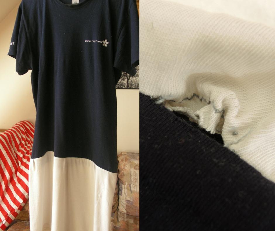 upcycling, přešívání, šití, minimalismus, šicí stroj, DIY móda, Marcela Sobotová, noční košile, tričko
