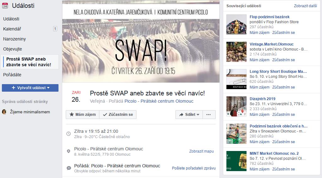 swap, facebook událost, minimalismus